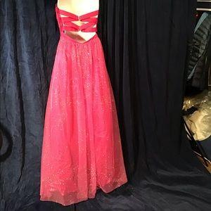 Pink prom/formal dress, EUC, satin, sparkle chiff.